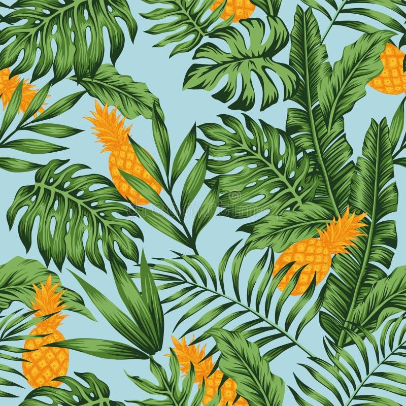 Предпосылка оранжевых джунглей зеленого цвета ананаса голубая безшовная бесплатная иллюстрация