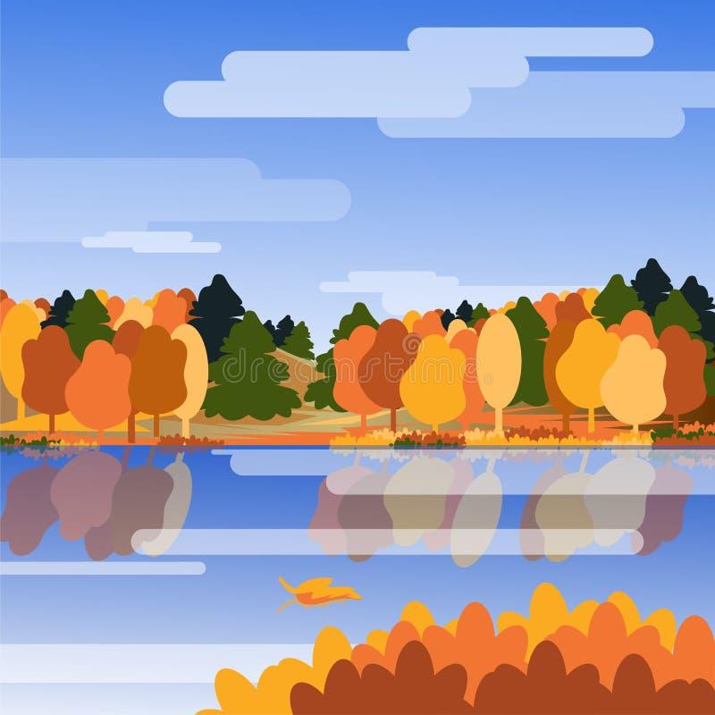Предпосылка осени Ландшафт с рекой, деревьями и горами Иллюстрация вектора с природой r иллюстрация вектора