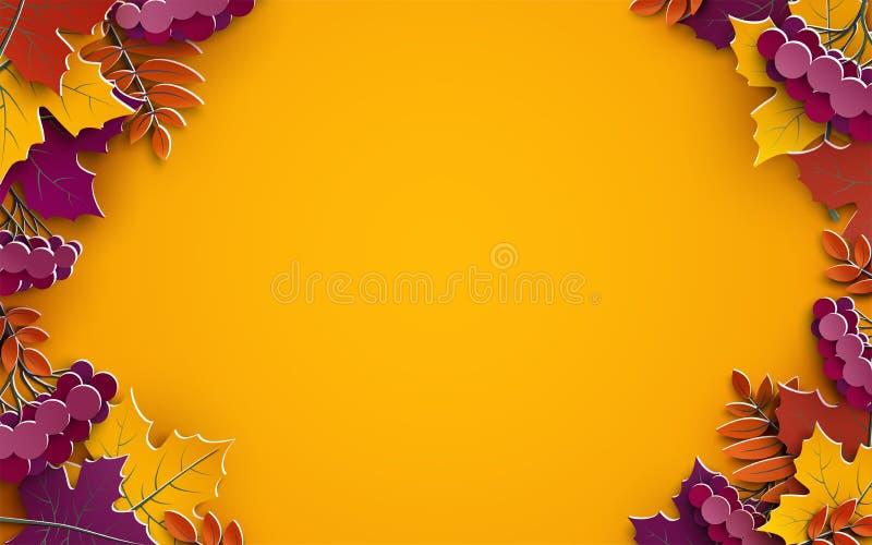 Предпосылка осени, листья бумаги дерева, желтый фон, дизайн для знамени продажи сезона падения, плаката, поздравительных открыток иллюстрация вектора