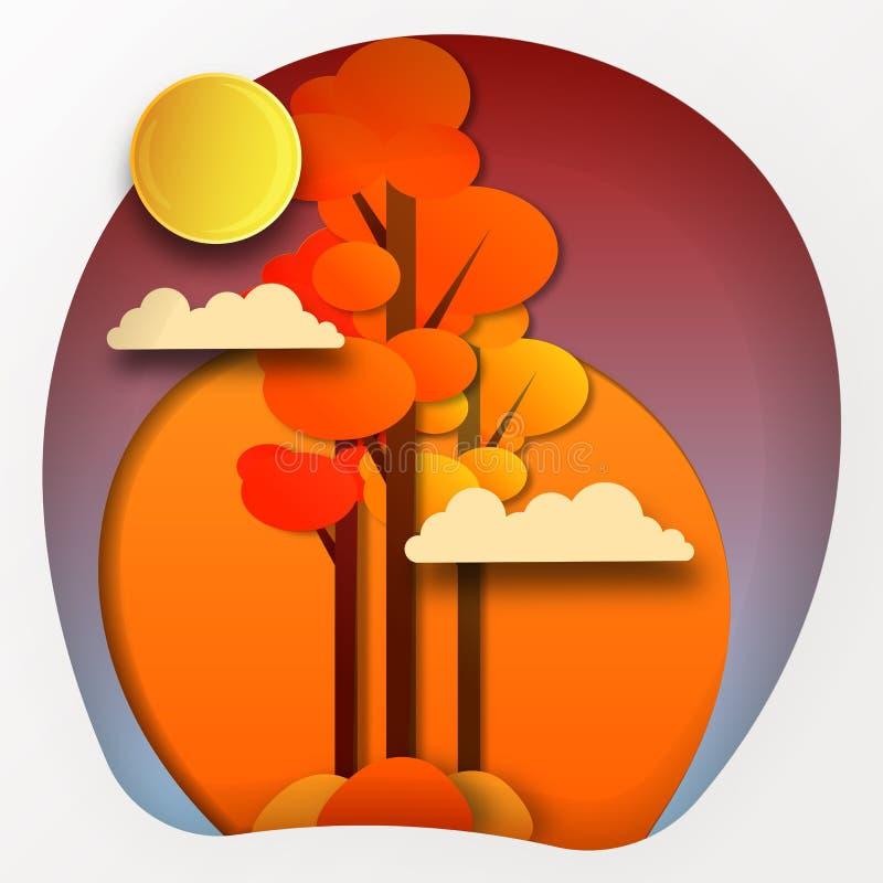 Предпосылка осени, листья дерева бумажные, желтый фон, дизайн для знамени продажи сезона падения, плакат или день благодарения иллюстрация вектора