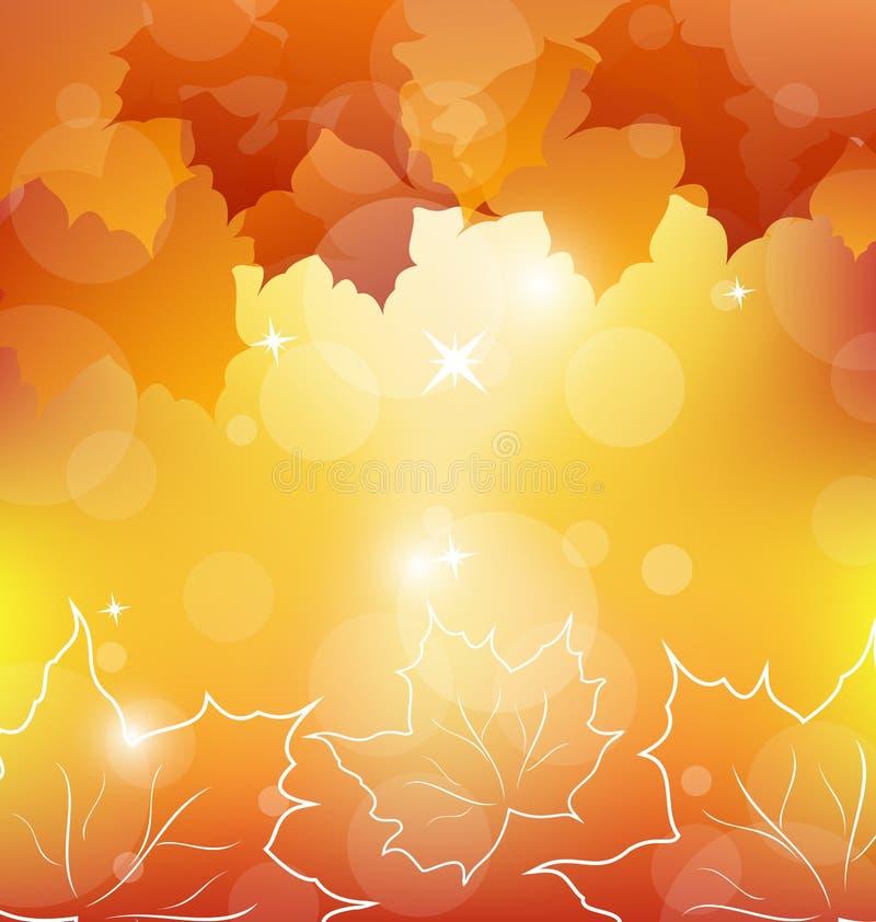 Предпосылка осени померанцовая с кленовыми листами бесплатная иллюстрация