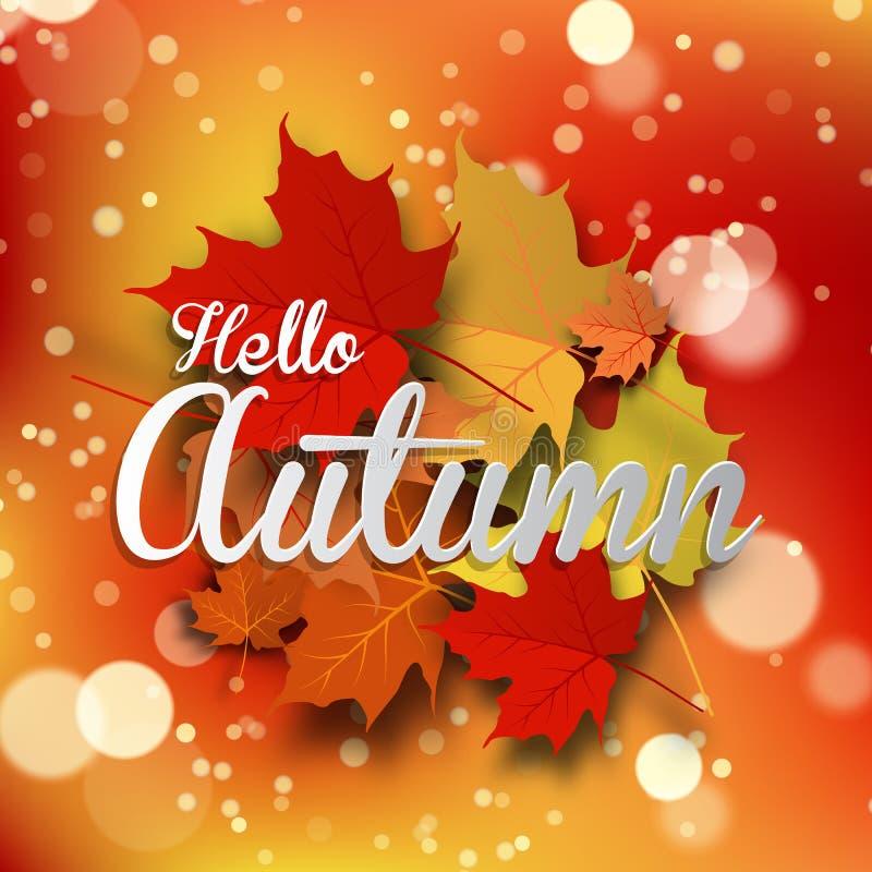 Предпосылка осени с листьями задняя школа к также вектор иллюстрации притяжки corel иллюстрация штока