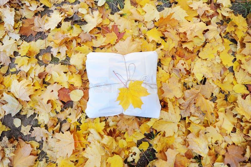 Предпосылка осени с подарочной коробкой и с кленовым листом над листьями осени стоковая фотография rf
