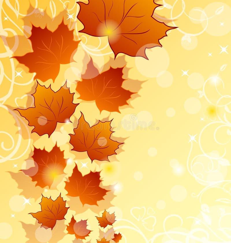 Предпосылка осени флористическая с кленовыми листами иллюстрация штока