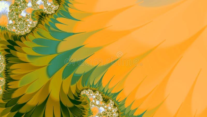 Предпосылка осени фрактали в апельсине и зеленом цвете иллюстрация штока