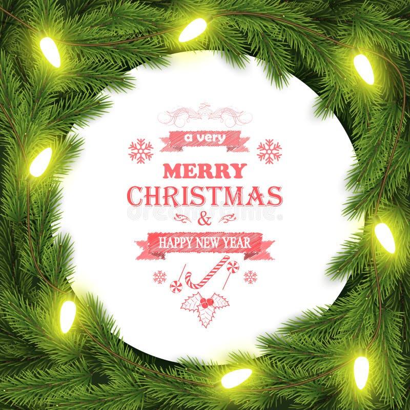 Предпосылка оформления рождества и Нового Года с ветвями иллюстрация вектора