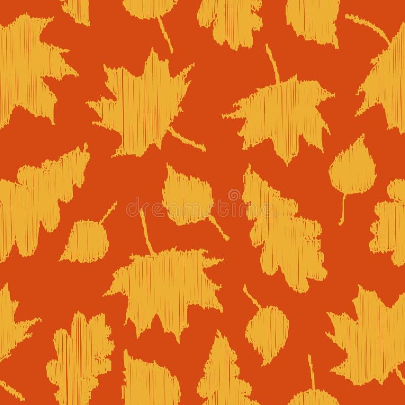 Предпосылка падения Безшовная картина с листьями осени на оранжевой предпосылке иллюстрация штока