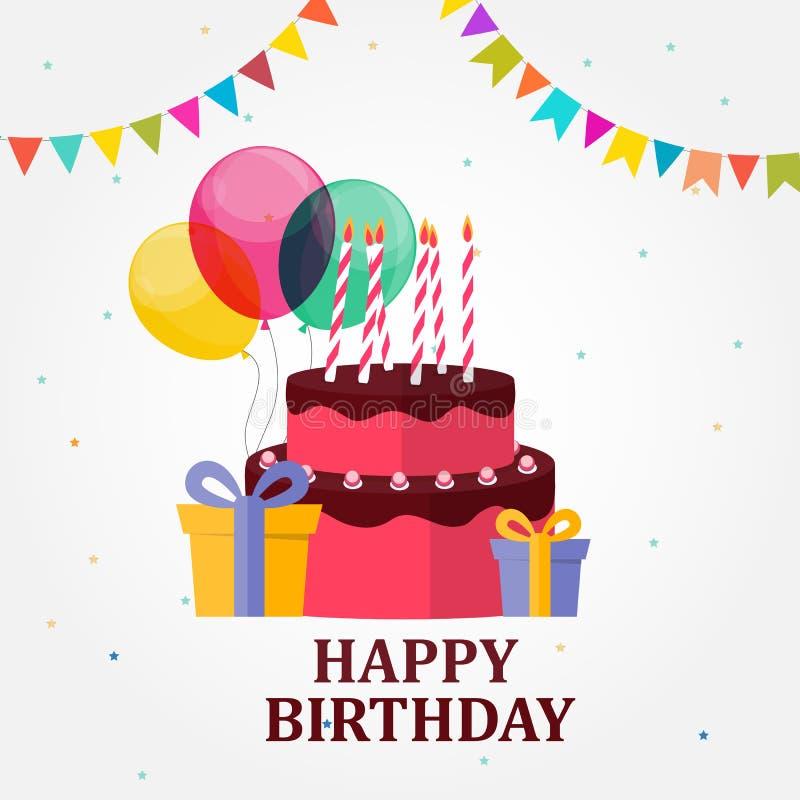 Предпосылка партии поздравительой открытки ко дню рождения с днем рождений с тортом, воздушными шарами, подарочной коробкой и фла иллюстрация вектора