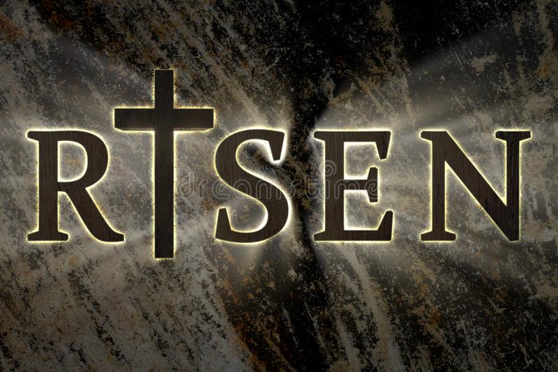 Предпосылка пасхи с деревянным крестом Иисуса Христоса и поднятым текстом карточка для религиозного, Кристиан пасха бесплатная иллюстрация