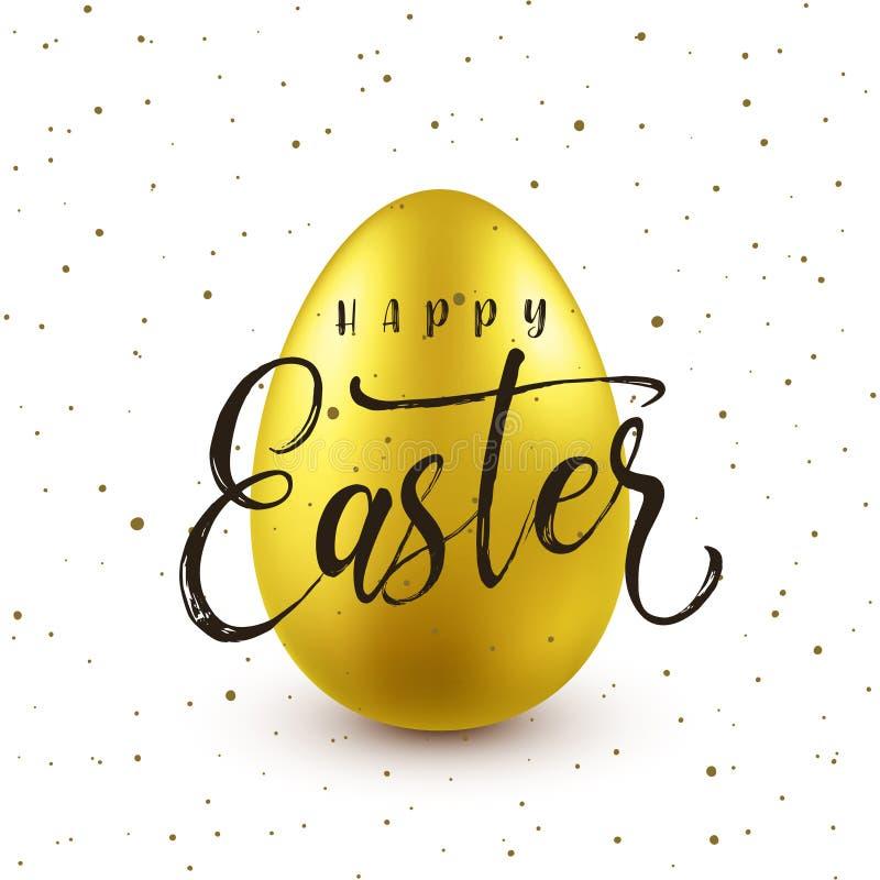 Предпосылка пасхи с реалистическим золотым яйцом Охота яйца весны Счастливая поздравительная открытка праздника с литерностью тек бесплатная иллюстрация