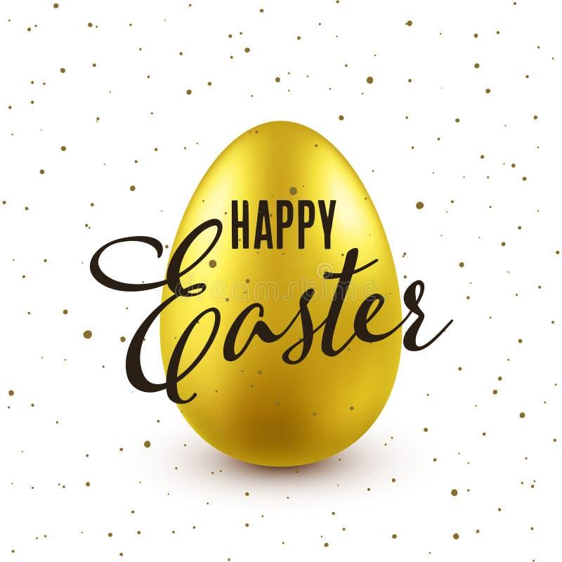 Предпосылка пасхи с реалистическим золотым яйцом Охота яйца весны Счастливая поздравительная открытка праздника с литерностью тек иллюстрация вектора