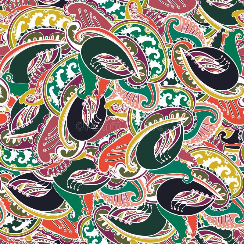 Предпосылка Пейсли цветастого индейца безшовная бесплатная иллюстрация