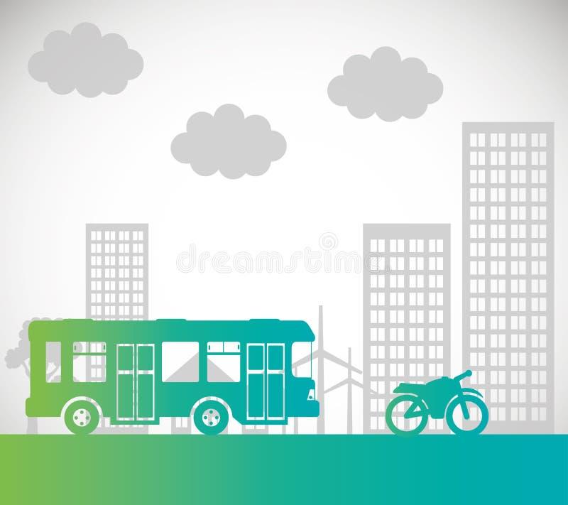 Предпосылка перехода мотоцикла шины городская иллюстрация вектора