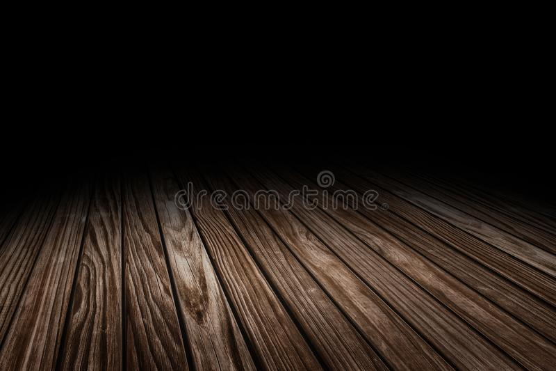 Предпосылка перспективы текстуры пола темной планки старая деревянная для дисплея или монтажа продукта, глумится вверх по шаблону стоковое фото