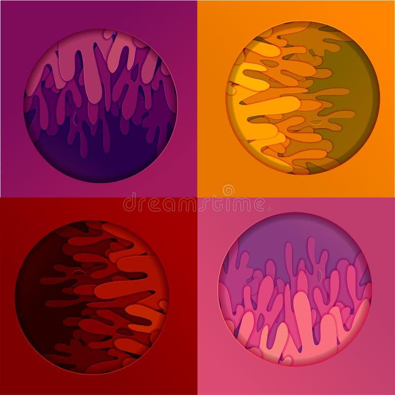 Предпосылка пестротканого абстрактного вектора в стиле материального дизайна с формами завода выплеска природы различных размеров бесплатная иллюстрация