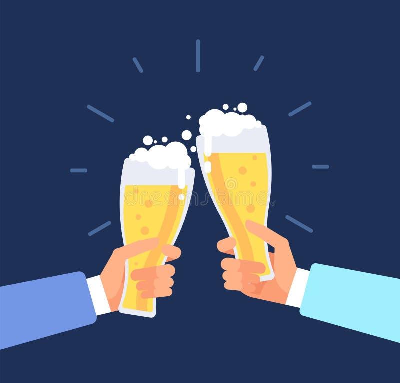 Предпосылка пива мужественная Люди провозглашать, стекла пива clink рук Концепция вектора Octoberfest иллюстрация вектора