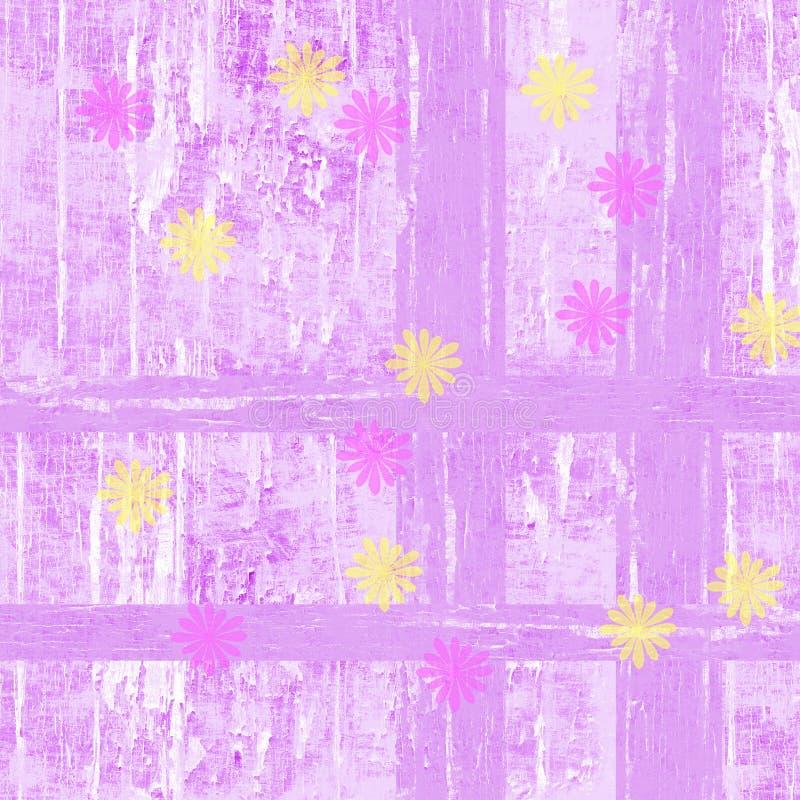 Предпосылка пинка и весны желтых цветков маргаритки ностальгическая иллюстрация вектора