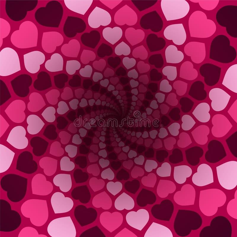 Предпосылка пинка картины любов Spirale сердец иллюстрация штока