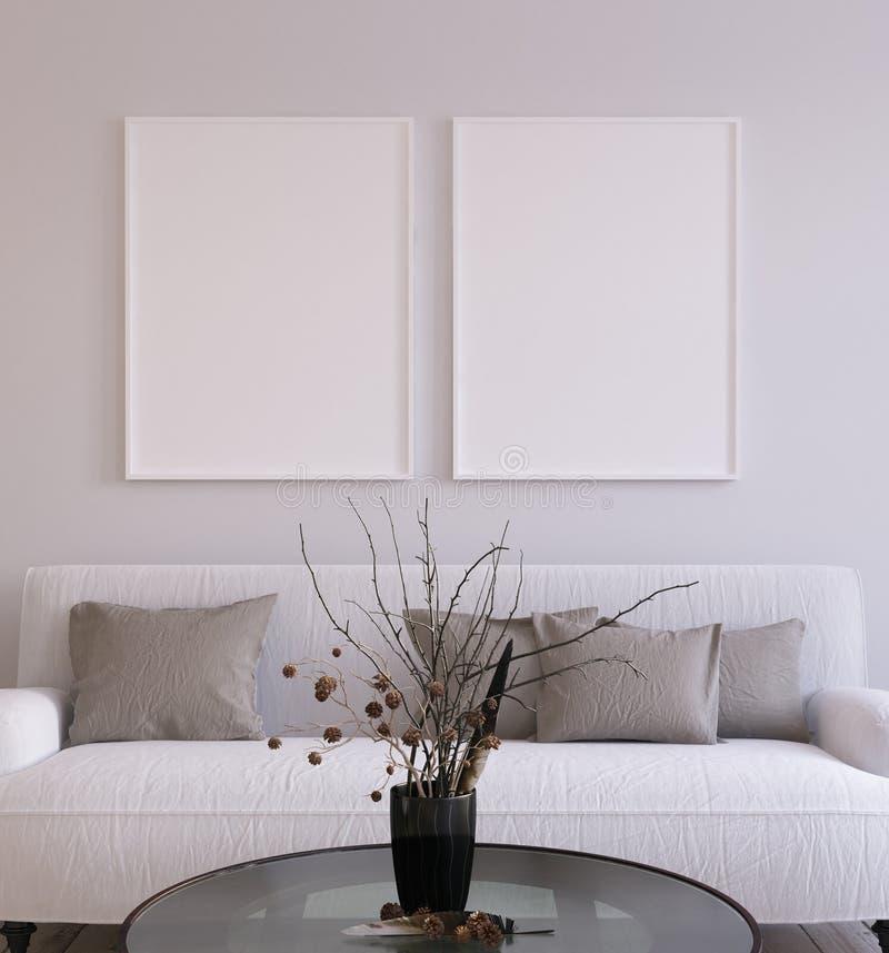 Предпосылка плаката модель-макета в живущей комнате внутренней, скандинавском стиле иллюстрация штока