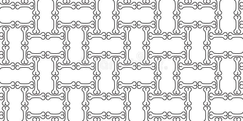 Предпосылка плитки повторения обоев французского бульдога хеллоуина вектора картины косточки собаки безшовным изолированная шарфо бесплатная иллюстрация