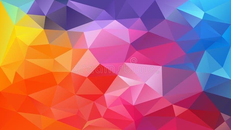 Предпосылка полигона вектора незаконная - картина треугольника низкая поли - теория радуги цвета полного спектра multi - желтая,  иллюстрация вектора