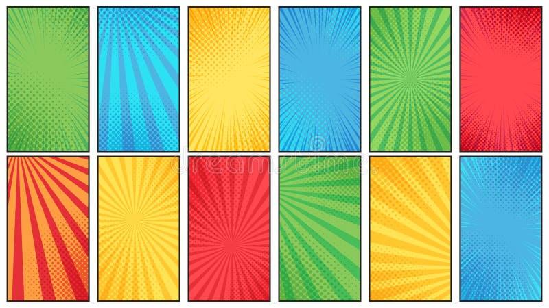 Предпосылка полутонового изображения комика Винтажный фон плаката комиксов супергероев, текстура полутонового изображения и векто бесплатная иллюстрация