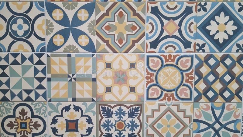 Предпосылка португальского дизайна Azulejo картины плиток безшовная винтажных мозаик стоковые изображения rf
