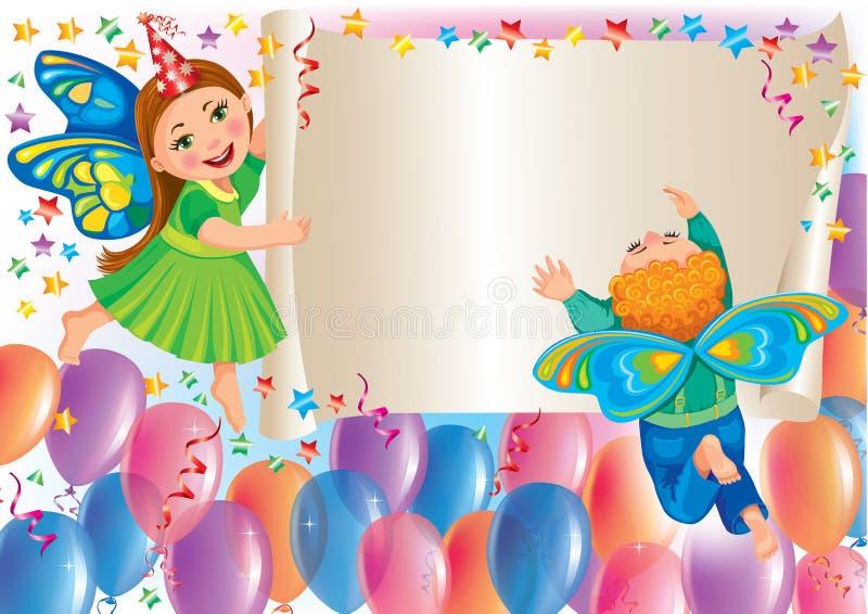 Предпосылка праздника с бабочками малышей бесплатная иллюстрация