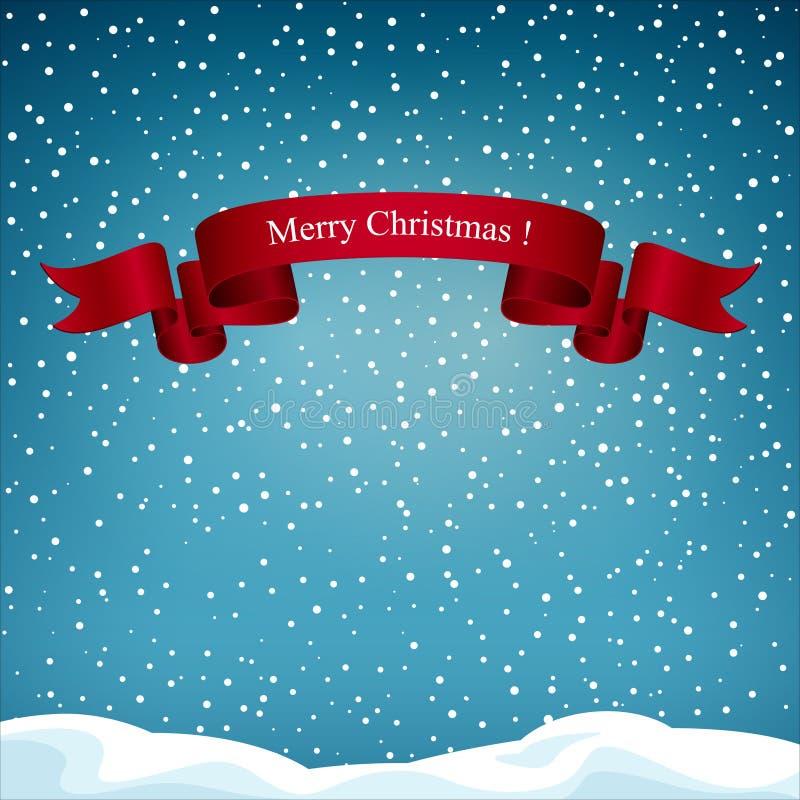 Предпосылка праздника с красной лентой с Рождеством Христовым иллюстрация вектора