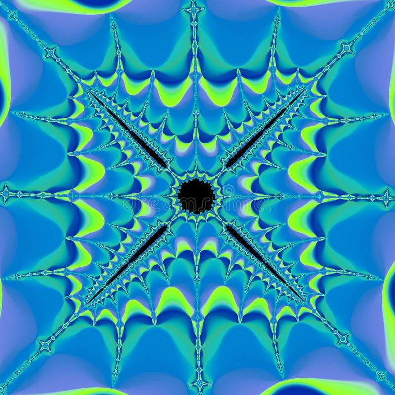 Предпосылка представления абстрактной голубой фрактали цифровая футуристическая, зима приглашения, снежинка иллюстрация штока