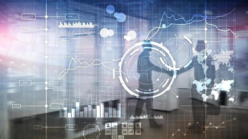 Предпосылка приборной панели анализа индикатора ключевой производительности KPI BI интеллектуального ресурса предприятия прозрачн стоковые изображения