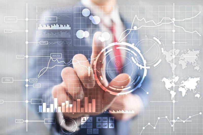 Предпосылка приборной панели анализа индикатора ключевой производительности KPI BI интеллектуального ресурса предприятия прозрачн стоковые изображения rf