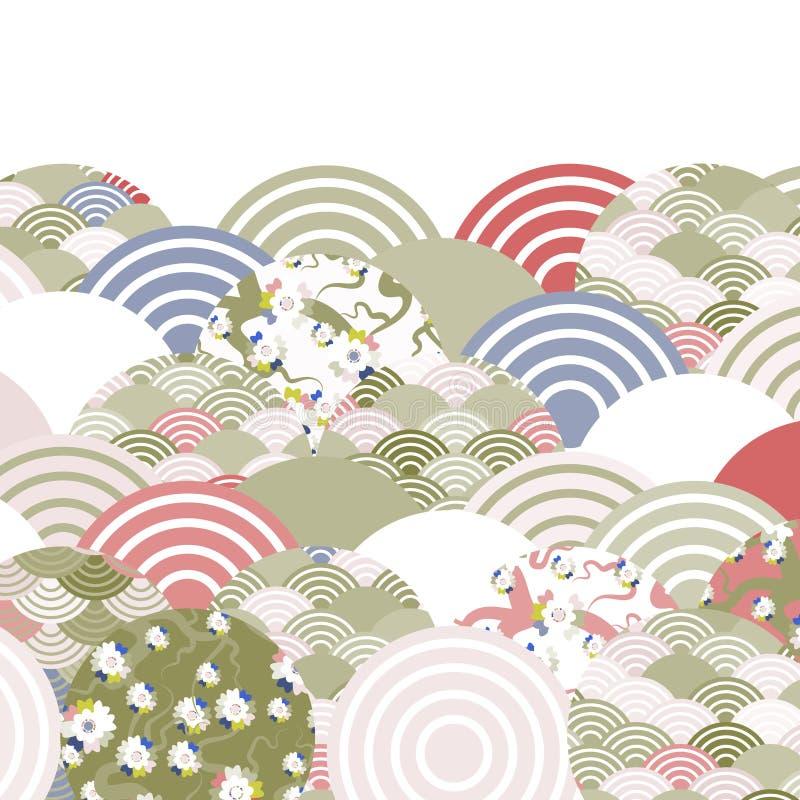 Предпосылка природы масштабов рыб простая с цветком Сакуры японца, румяной розовой вишней, бежом пинка прованского зеленого цвета иллюстрация вектора