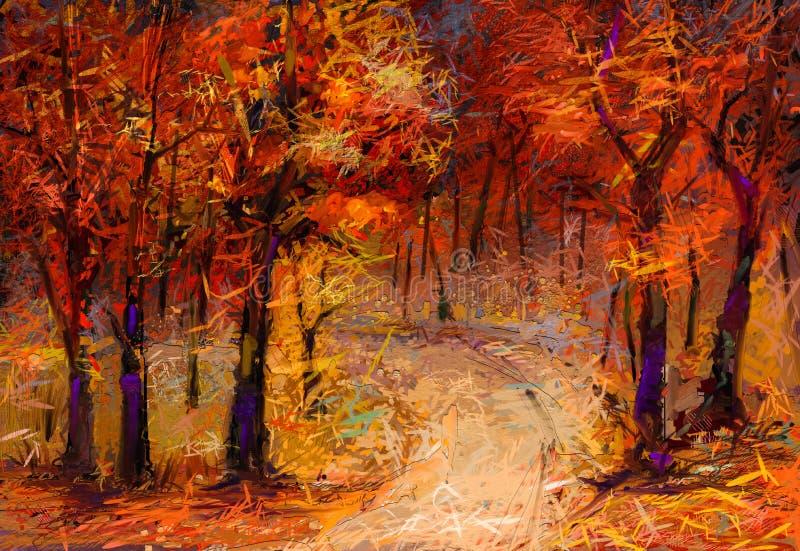 Предпосылка природы сезона падения Импрессионист покрашенный рукой, внешний ландшафт иллюстрация вектора