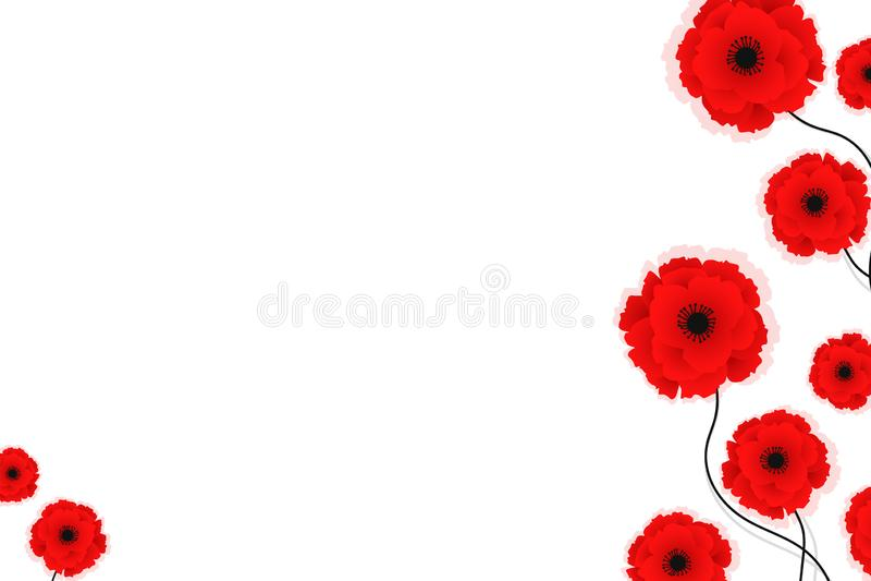 Предпосылка природы с красными цветками маков r Смогите быть использовано для ткани, обоев, печатей и веб-дизайна бесплатная иллюстрация