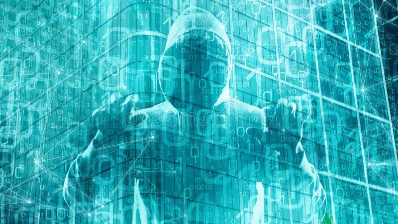 Предпосылка программного обеспечения компьютера абстрактная, поток бинарного кода компьютера бесплатная иллюстрация