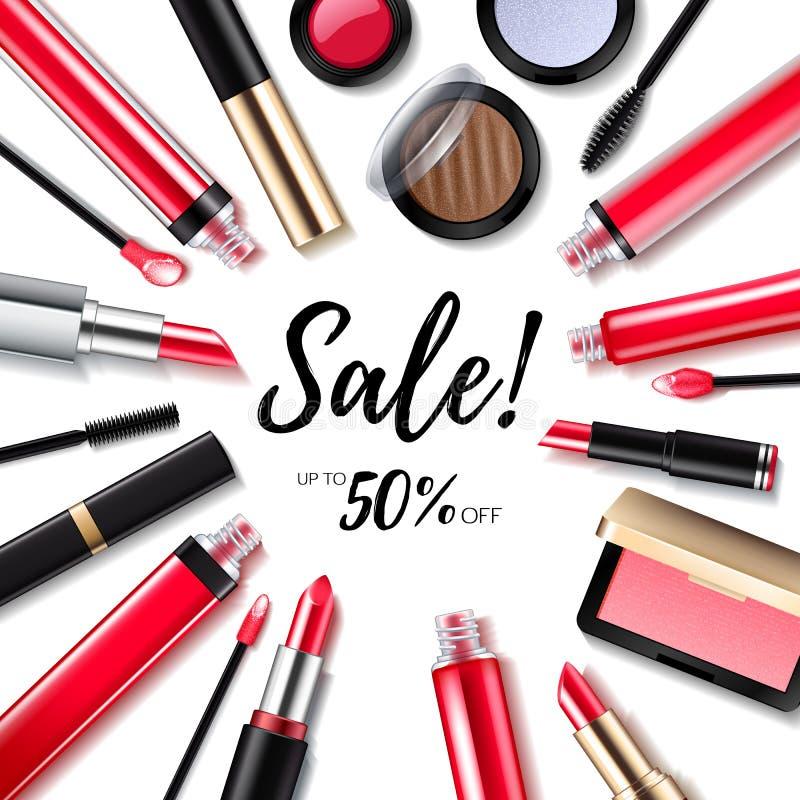 Предпосылка продажи косметик макияжа с продуктами губ и глаз иллюстрация вектора