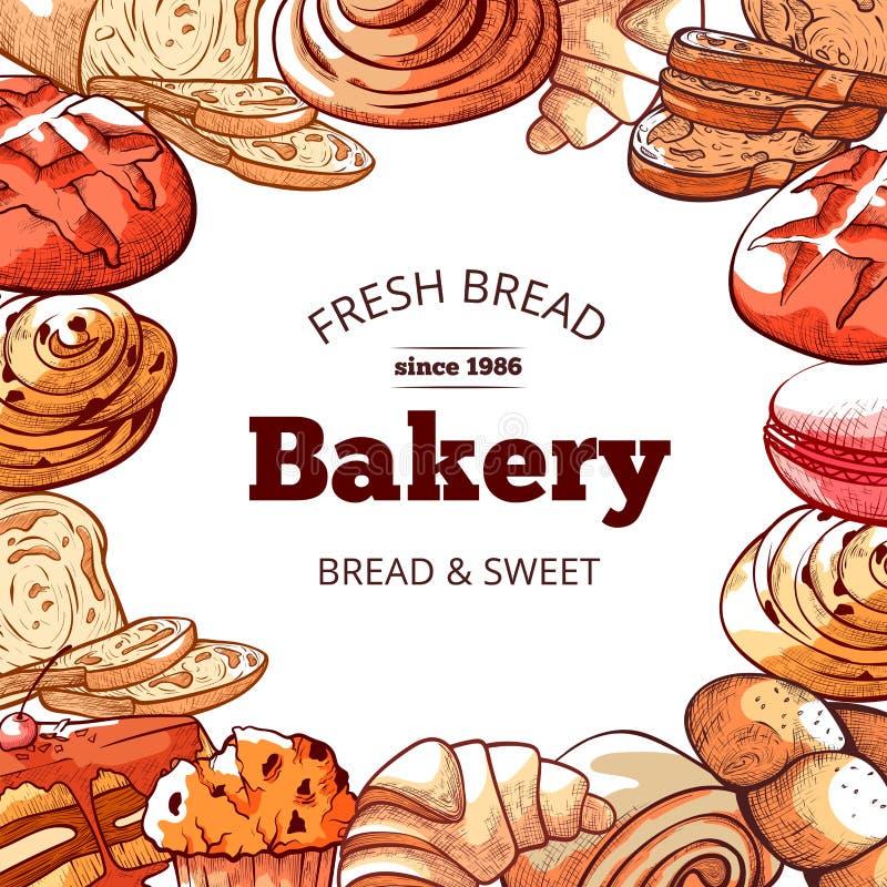 Предпосылка продуктов хлебопекарни, свежих и вкусных хлеба иллюстрация вектора