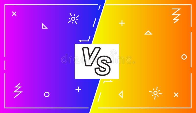 Предпосылка против сражения экрана, иллюстрации вектора Экран конфронтации дела с рамками и против иллюстрации логотипа battler иллюстрация вектора
