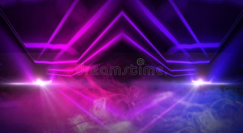 Предпосылка пустого коридора с неоновым светом кирпичной стены и Кирпичные стены, неоновые лучи и зарево иллюстрация штока