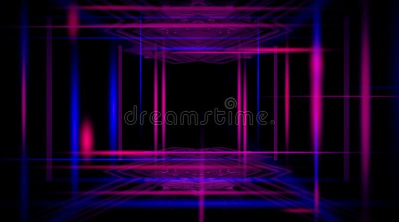 Предпосылка пустого черного коридора с неоновым светом Абстрактная предпосылка с линиями и заревом иллюстрация штока