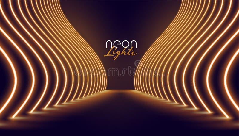 Предпосылка пути входа неоновых свет Vip иллюстрация вектора