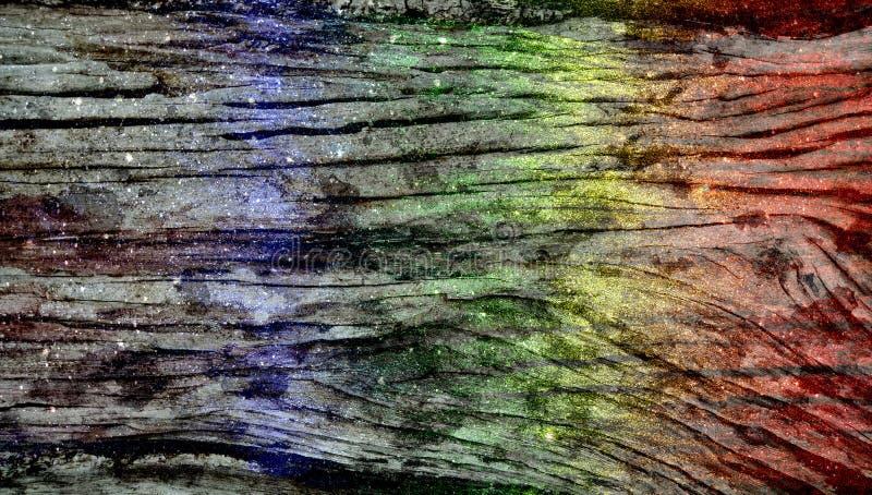 Предпосылка радуги деревянным текстурированная ярким блеском r стоковая фотография