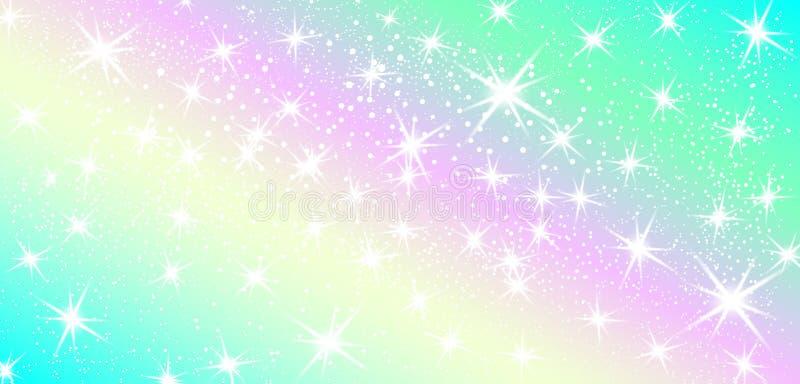 Предпосылка радуги единорога Голографическое небо в пастельном цвете Яркая картина русалки в цветах принцессы также вектор иллюст иллюстрация вектора
