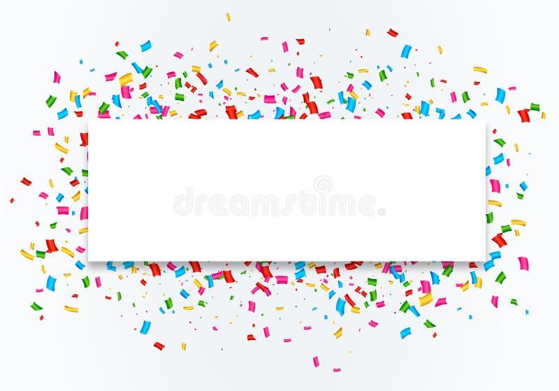 Предпосылка рамки торжества Confetti иллюстрация штока