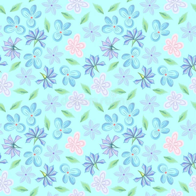 Предпосылка растра безшовная с картиной цветков фантазии в нежных пастельных цветах для дизайна ткани бесплатная иллюстрация