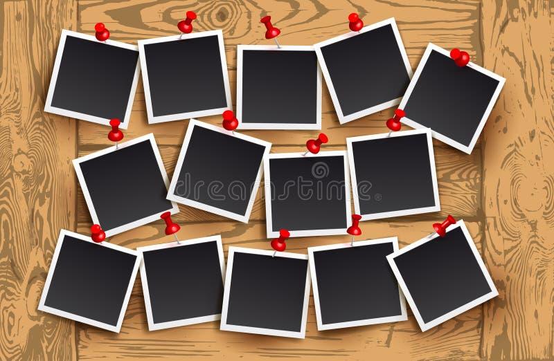 Предпосылка реалистических рамок фото с красными штырями на деревянной текстуре Дизайн фото шаблона ретро также вектор иллюстраци иллюстрация вектора
