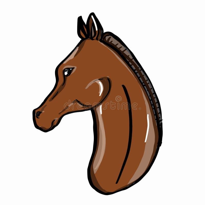 предпосылка реалистического коричневого цвета портрета лошади рисуя белая иллюстрация вектора
