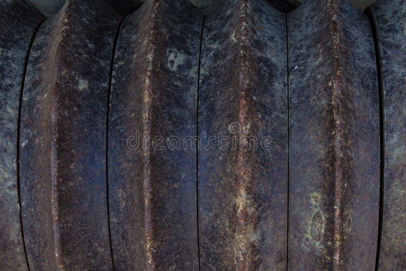 Предпосылка ржавых колец металла на сельскохозяйственном оборудовании стоковые изображения