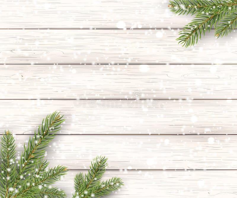 Предпосылка рождества белая деревянная с елью праздника, ветвями и падая сияющим снегом Взгляд с космосом экземпляра стоковая фотография rf